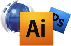Photoshop Icon, Illustrator Icon, Flash Icon